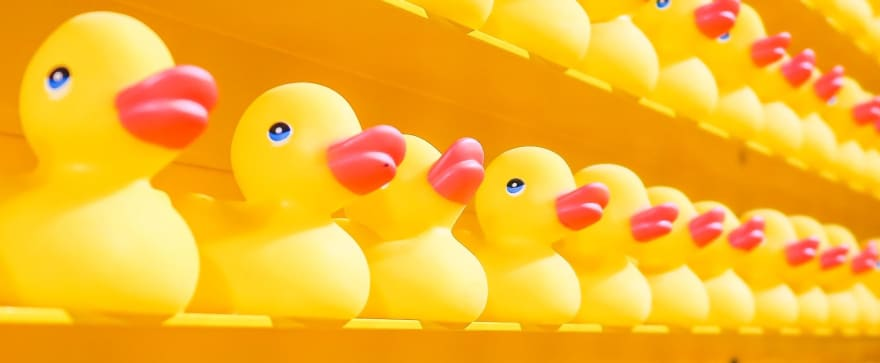 Rubber ducks on a shelf