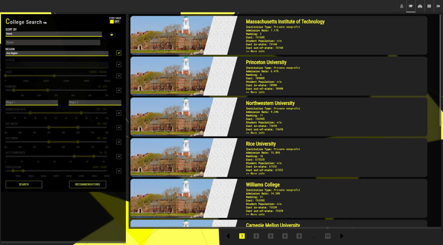 College Search Page