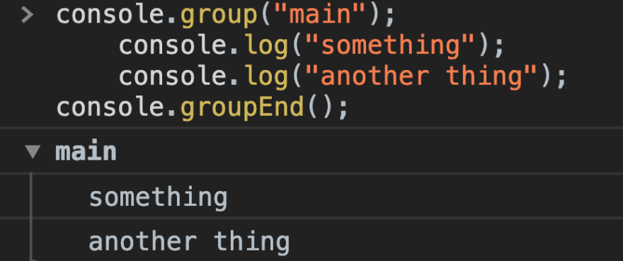 Looking at how to group items in the console