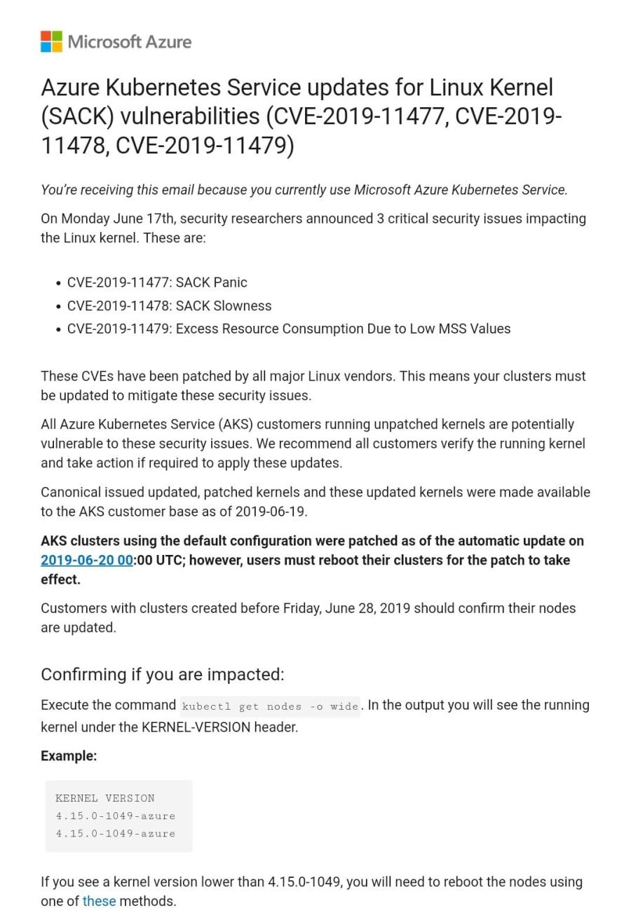 The Microsoft Azure email explaining that I had to reboot my clusters