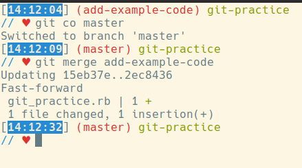 git co master, then git merge add-example-code