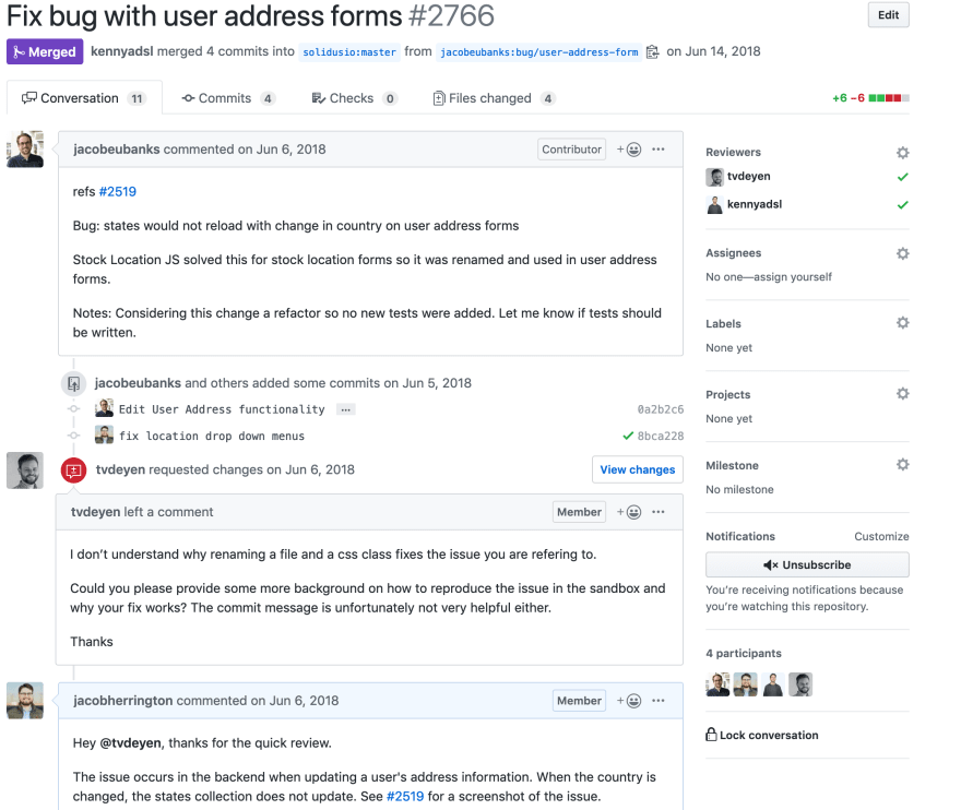 A screenshot of a GitHub Pull Request