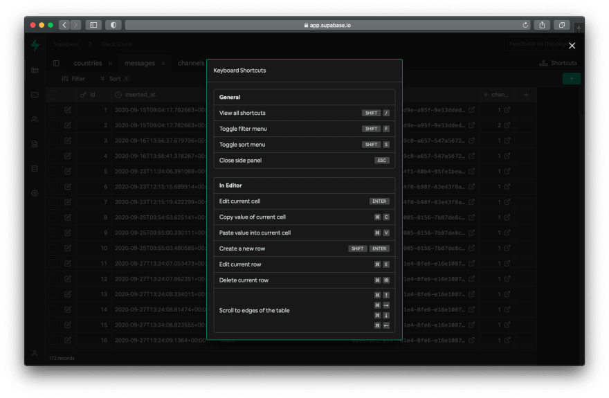 This image shows some of the keyboard shortcuts we introduced on the table editor.