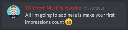 Discord message from Will