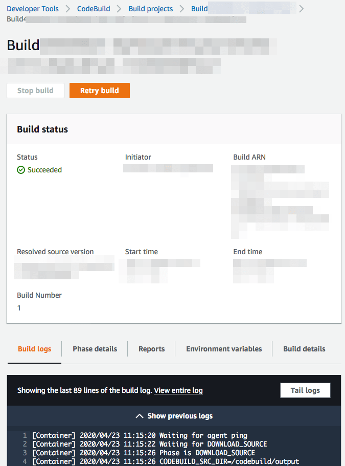 CodeBuild Run Details