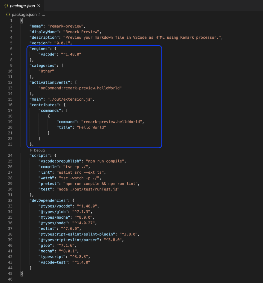 Section of code displaying activation events