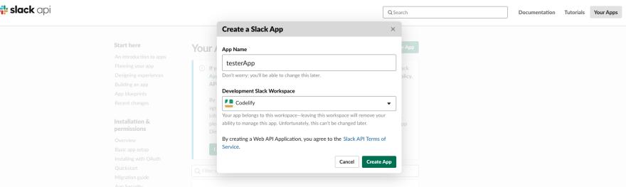 Create Slack app