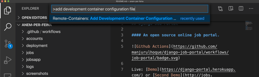 Add development container configuration file