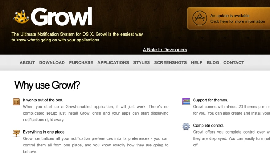Screenshot of Growl website