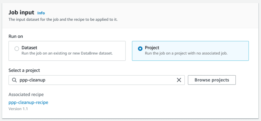 DataBrew Project Job