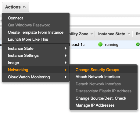 Assign a security group