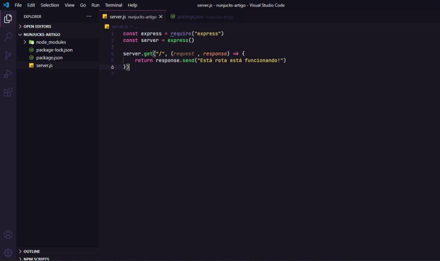 editando o arquivo server.js