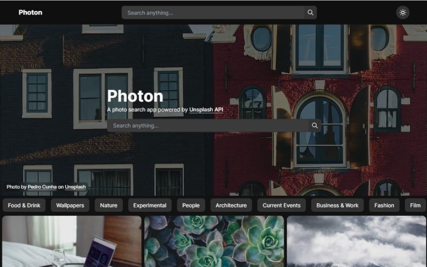 Photon home page dark mode