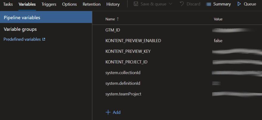 DevOps  Environment Variables Screenshot