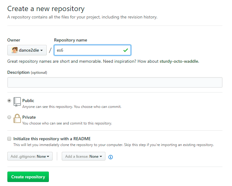 Crete a new repository