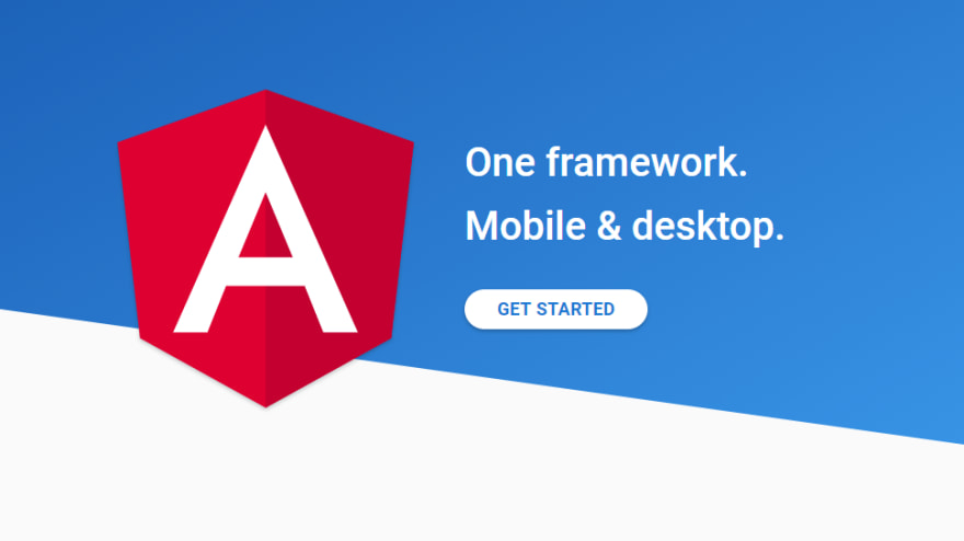 The Angular.io home page cover