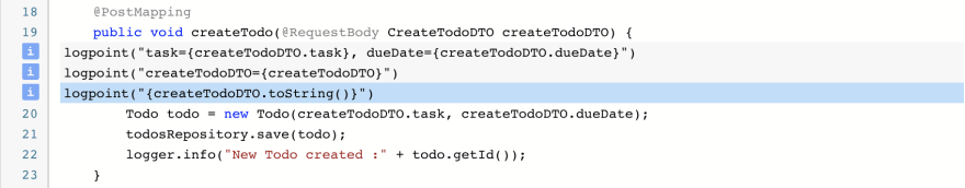 Logpoints example in the Debugger service