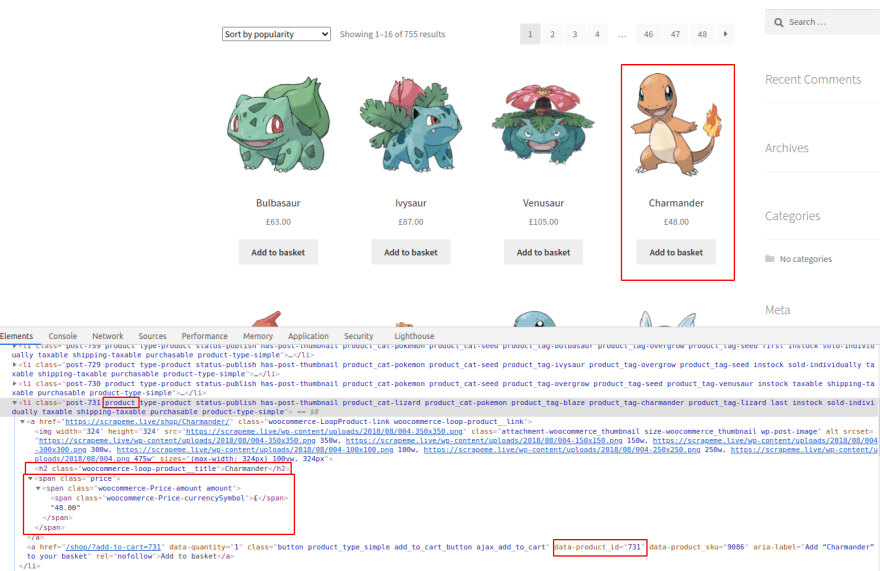 Product (Charmander) in DevTools