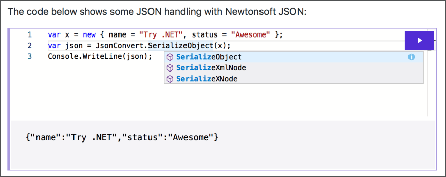 Using JSON.NET in the C# code in the markdown