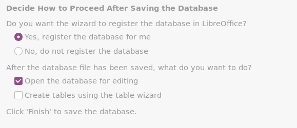 Options to configure the database