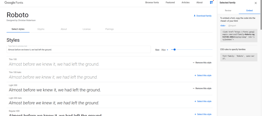 Google Fonts Page