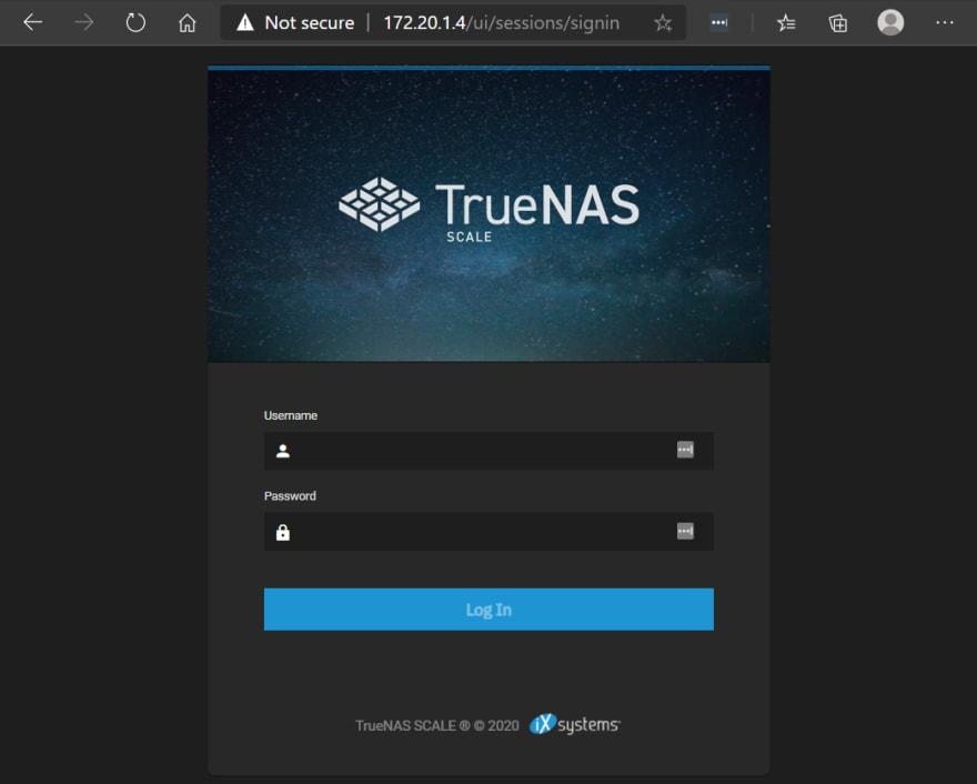 TrueNAS SCALE logon page