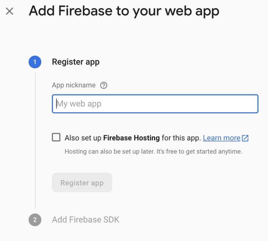 web app name - firebase