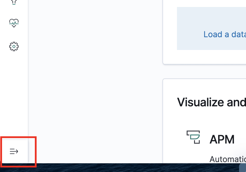 The collapse button in Kibana