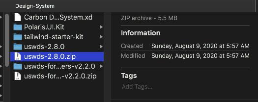 Design-System folder showing uswds-2.8.0.zip