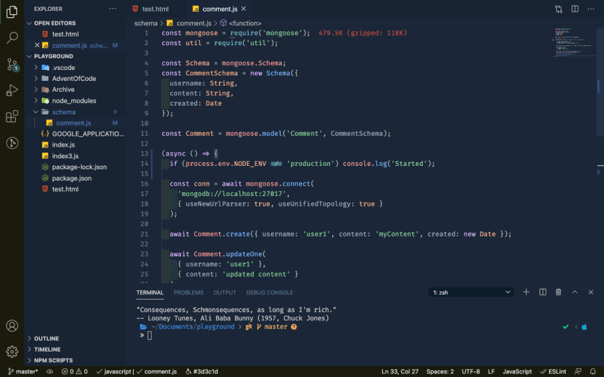 screenshot of my VS Code setup