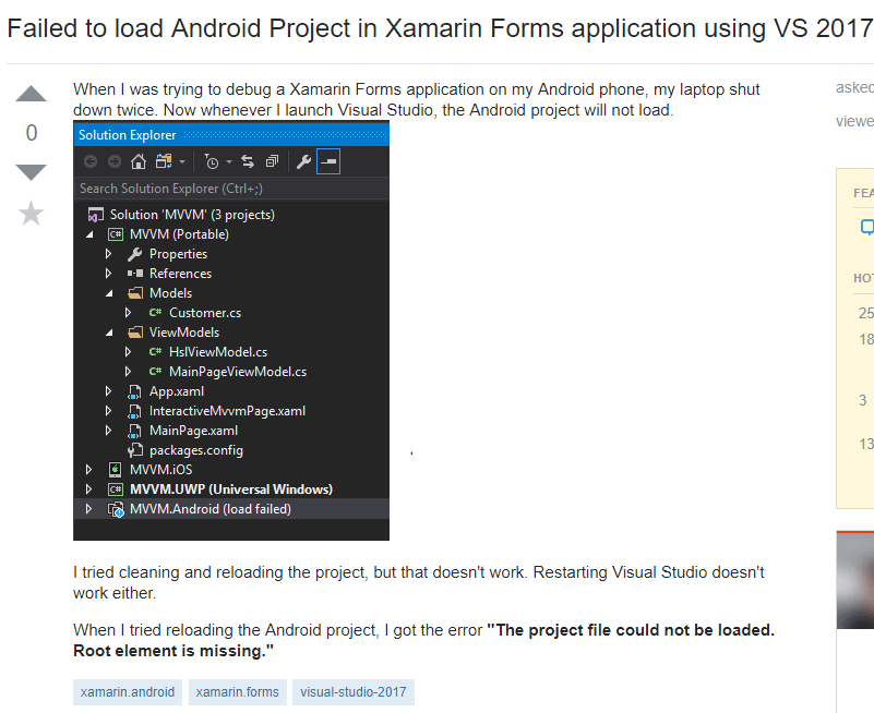 Xamarin Form application failed to load Android project