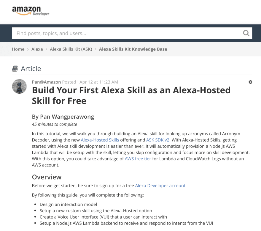 Intro to Alexa Skill Development tutorial