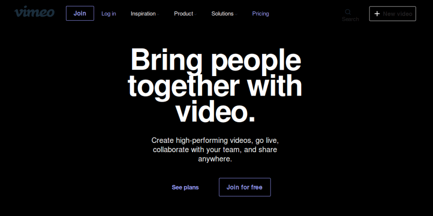 Vimeo's homepage in dark mode