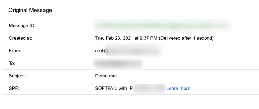 Image of a mail header from Gmail