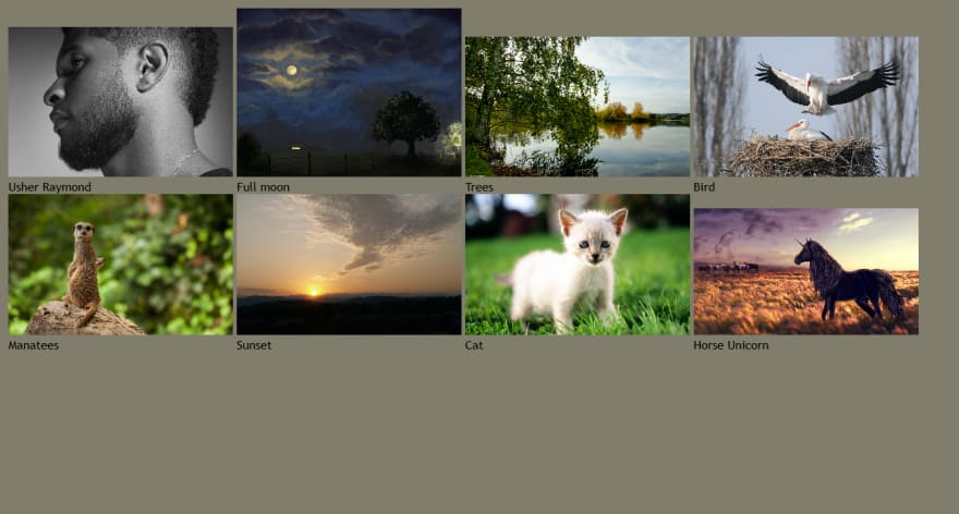 An image gallery with inline-block layout