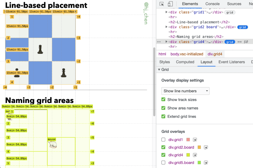 Chrome's Grid inspector's interface in DevTools