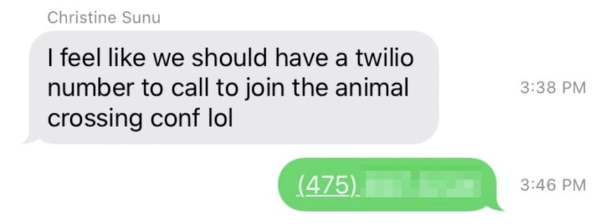 text exchange where christine suggests a twilio conference call
