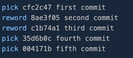 Replaced pick with reword for the second and third commit in editor