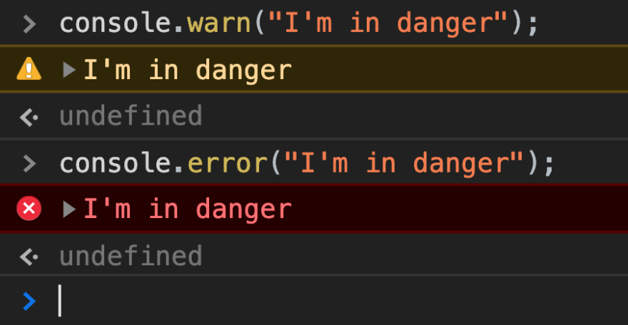 Sample of using the console.warn and console.error