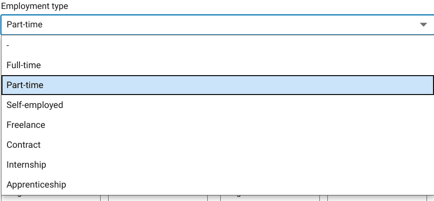 Image of the employment type LinkedIn dropdown