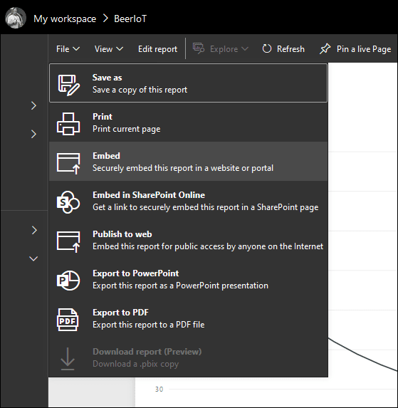 Embed Power BI report from portal
