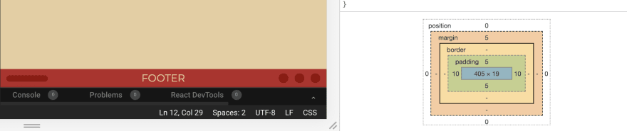 Footer Height in Google Chrome Dev Tools