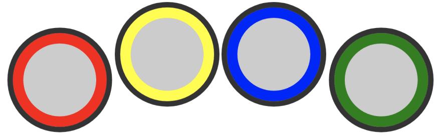 Captura de pantalla de la batería en orden: rojo, amarillo, azul y verde