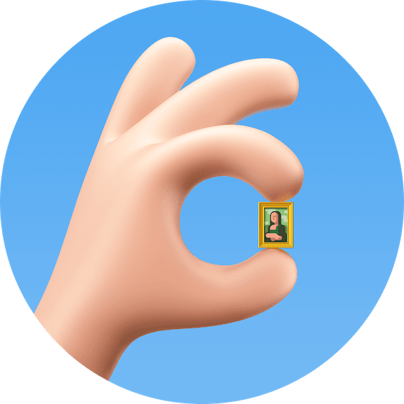 Optimizt avatar: OK sign with Mona Lisa picture between the fingers