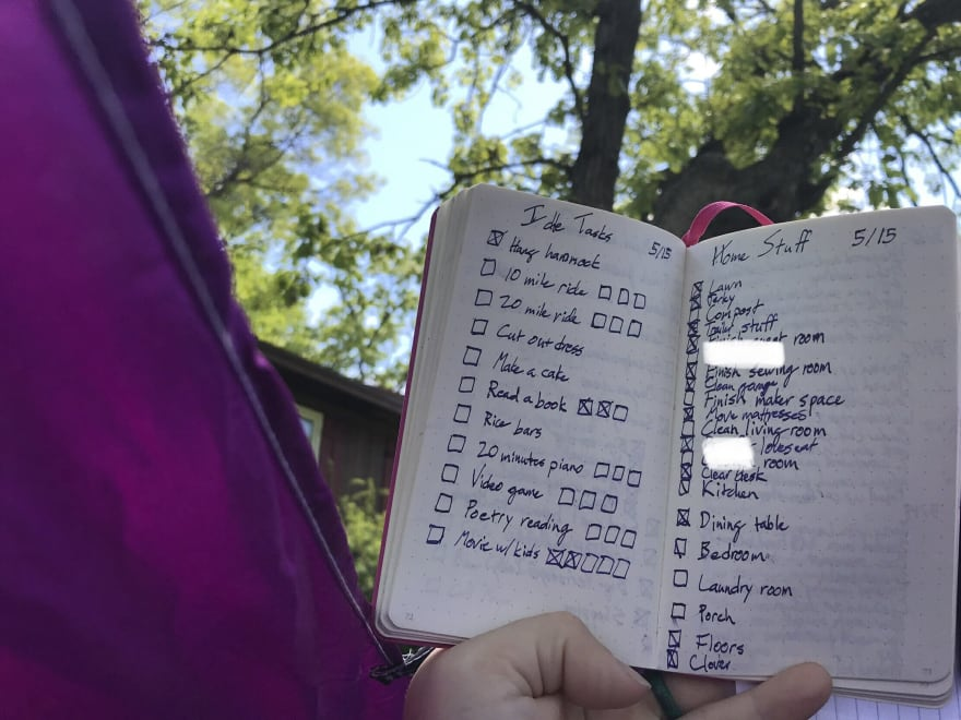 """To-Do lists on facing pages. One is labeled """"Idle tasks"""" and the other """"Home stuff""""."""