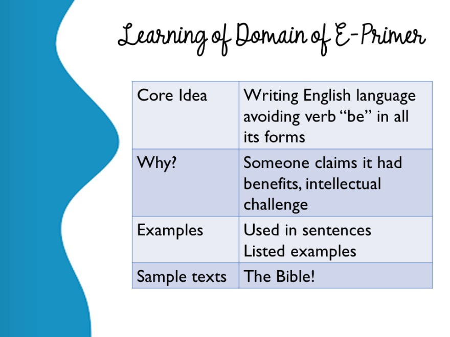 Learning of Domain of E-Prime