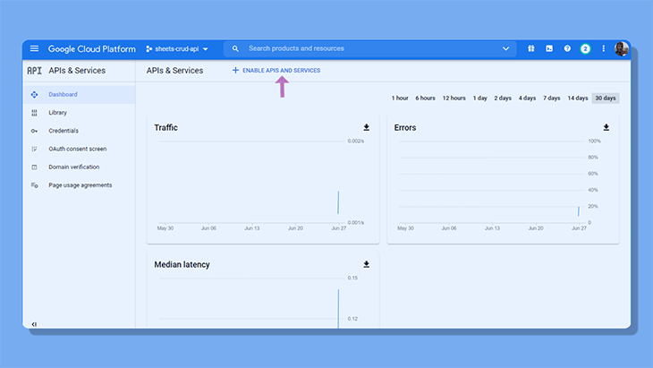 APIs and Services panel in Google Cloud Console