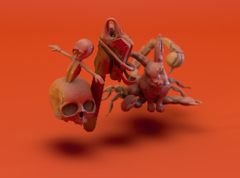 halloween orange pumpkin rabbit mutation floating mid-air for Hulu design