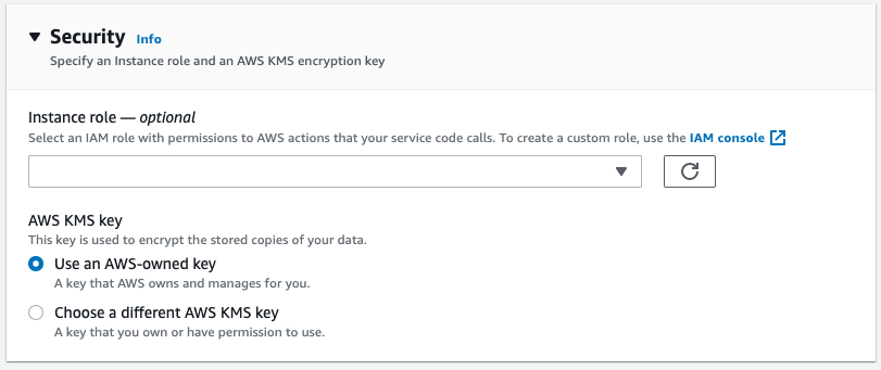 AWS App Runner console - security section