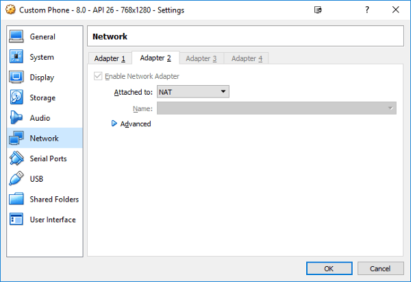 Figure 2: Android emulator VM network settings